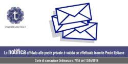 Inesistenza della notifica effettuata da posta privata. Avv. Giovanni Longo Pisa.